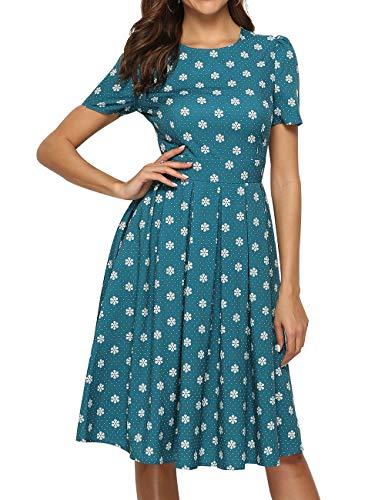 Simple Flavor Women's Floral Summer Midi Dress Vintage Evening Dress Short Sleeve(0007Green,S)