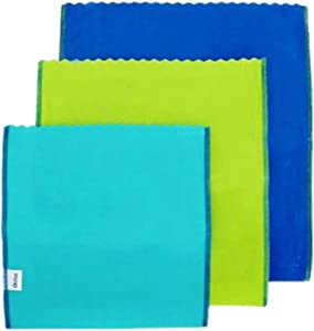 etee Beeswax Food Bags, Reusable Alternative to Plastic Wrap, Ziptop Bags and Storage Containers, Includes 1 Each of Teal Green and Blue, 1 Pack (3 Bags)