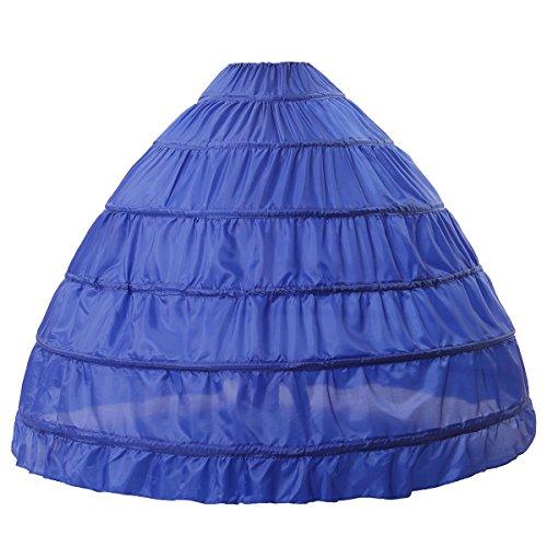 (MISSYDRESS Full A-line 6 Hoops Floor-Length Bridal Dress Gown Slip Petticoat Royal Blue)