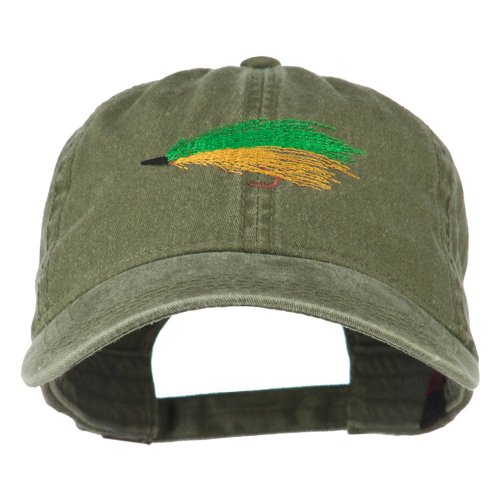 E4hats Fishing Green Fly Embroidered Washed Cap - Olive Green -