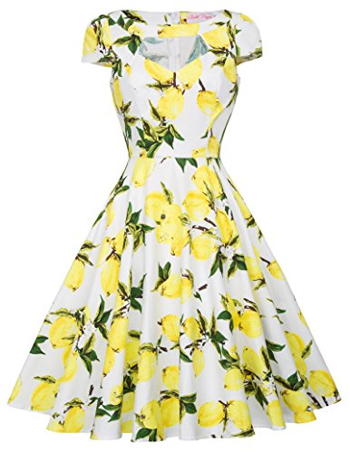 Classy Floral Retro Dress Women 1950s Pin Up Dress XL BP08-15