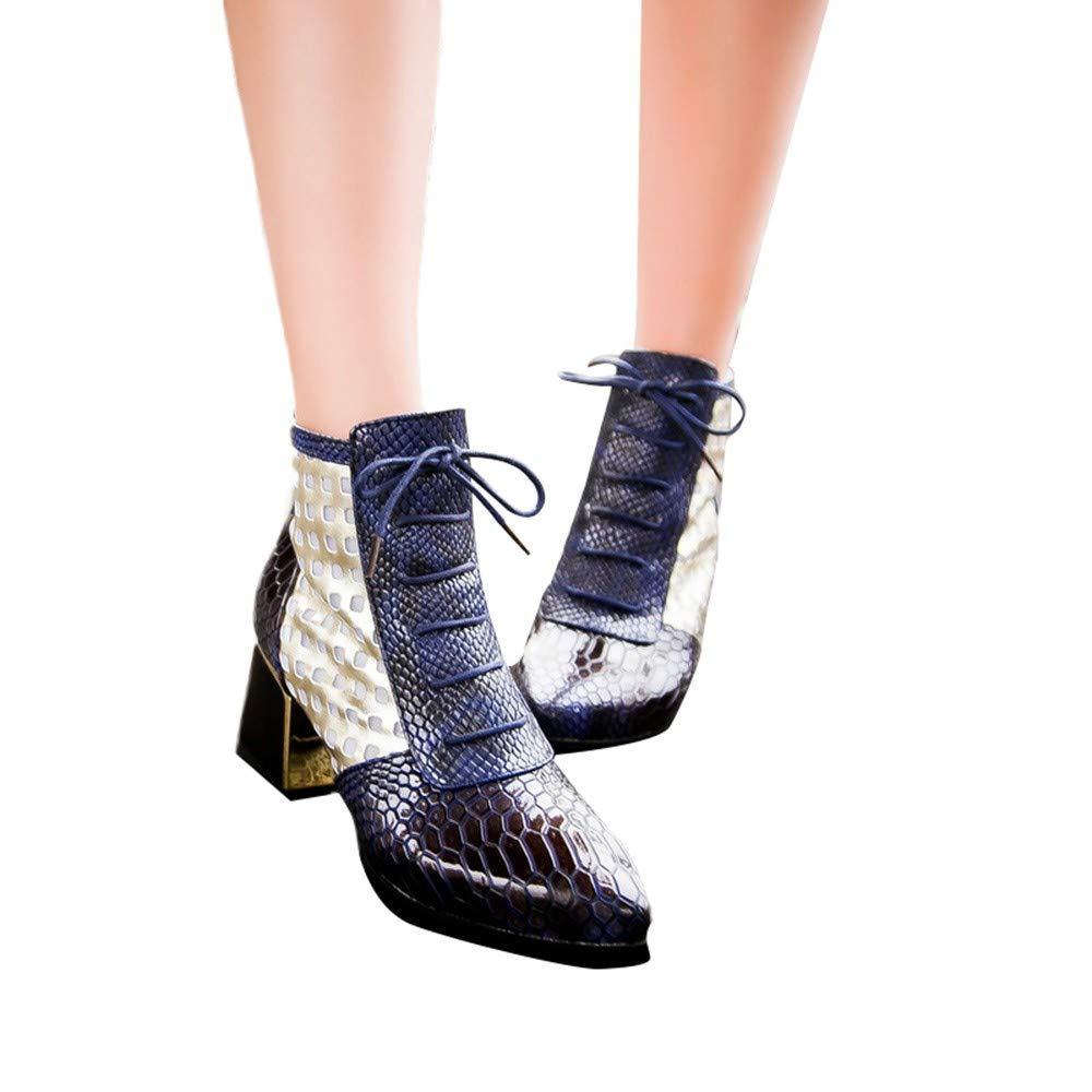 ❤ Botas de tacón Alto de Piel de Serpiente para Mujer, Botines de Moda Tacones Altos de Serpiente Botas Cortas Punta Estrecha Zapatos de Invierno Mujer ...