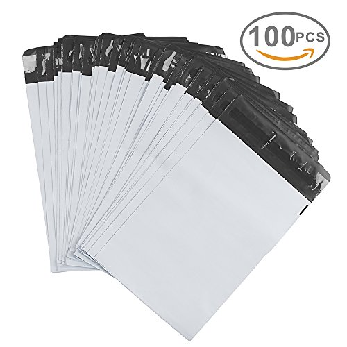 Metronic® 100 Pcs 6 x 9 White Poly Mailer Envelopes Shipping Bags with Self Adhesive, Waterproof and Tear-proof Postal Bags