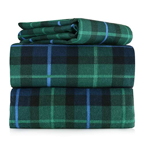 (AM Home Fashion Piece 100% Soft Flannel Cotton Bed Sheet Set - Queen/King Size - Patterned Bedding Covers - 1 Flat Sheet, 1 Fitted Sheet, 2 Pillow Cases - Fade Resistant Designs, (Multi Plaid, King) )