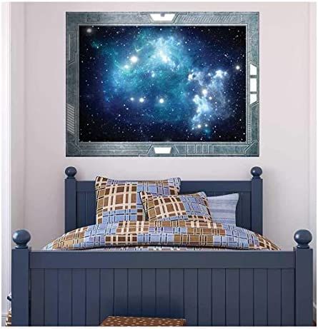 Wall26 - Science Fiction ViewPort - Decal - View into a Space Galazy of Blue - Wall Mural, Removable Sticker, Home Decor - 36x48 inches
