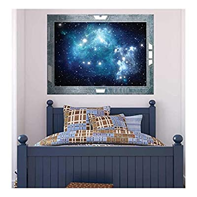 Gorgeous Composition, Science Fiction ViewPort Decal View into a Space Galazy of Blue Wall Mural, Made to Last