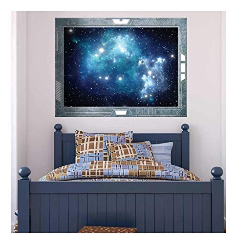 Science Fiction ViewPort Decal View into a Space Galazy of Blue Wall Mural