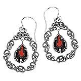 Paz Creations 925 Sterling Silver Garnet Lace Teardrop Earrings