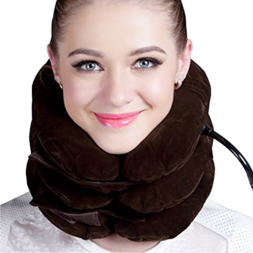 Price comparison product image Cervical Traction Device  Improve Spine Alignment to Reduce Neck Pain  Cervical Collar AdjustableBrown) cervical neck traction Pillow (brown)