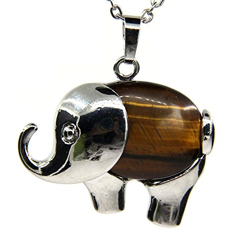 Amandastone Golden Tiger Eye Gem Semi Precious Gemstone Crystal Quartz Charm Elephant Pendant Necklace ()