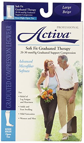 Activa Soft Fit 20-30 mmHg Knee High with Open Toe Stockings, Beige, Large