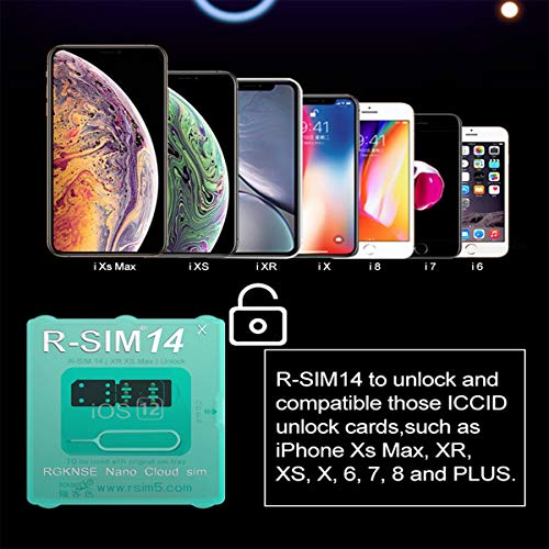 RSIM14 x Auto Unlock Chip Turbo Unlock SIM Compatible with iPhone Xr Xs Max 8 7 6 5 All Models, Unlocks Sprint, VERIZON, ATT, TMOBILE, Metro, XFINITY to Any GSM SIM Card