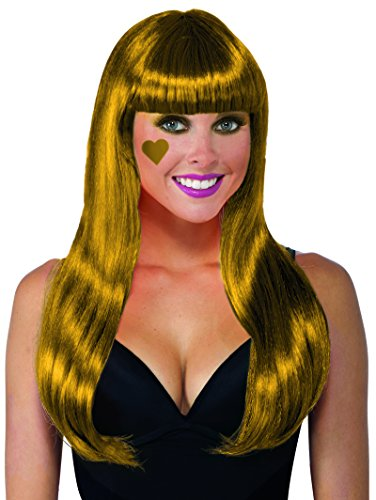 Mardi Gras Tinsel Wig (Forum Novelties Color Line Long Wig W/Tinsel W, Gold)