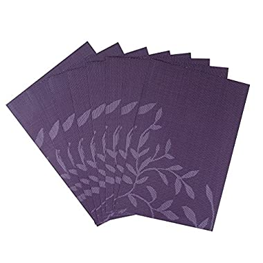 Top Finel Eco-friendly Colorful Rectangle Jacquard Leaf Woven PVC Place Mats for Dining Table 12  By 18  (Set of 8,Purple)