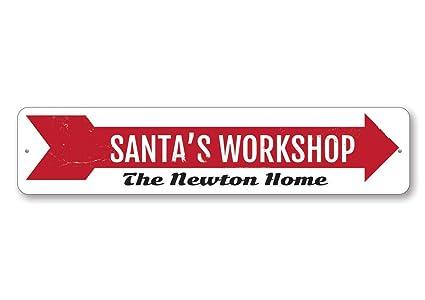 Christmas Arrow.Amazon Com Santa S Workshop Sign Custom Holiday Arrow Sign