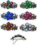 Set of 6 Large Barrettes Decorated with Beads and Crystals 1 ea of 6 Colors U86012-0052-6