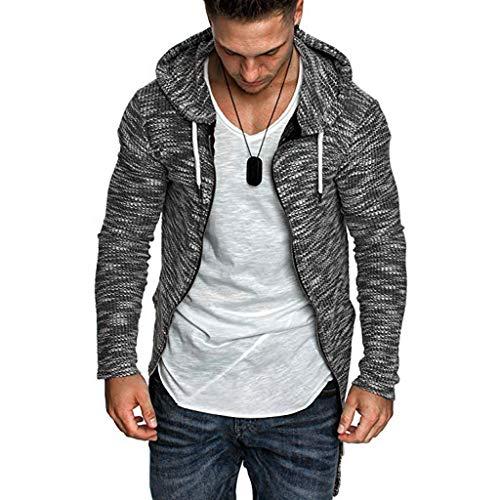 Men's Hooded Knit Trench Coat,Winter Warm Solid Jacket Cardigan Long Sleeve Outwear Blouse Mid Legth POPNINGKS Black (Aeropostale Puffer Jacket)