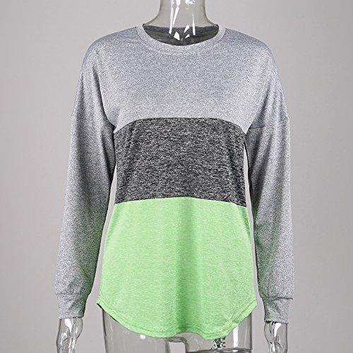 Pullover Tunique Printemps Chemisiers Longues Automne Sweat et Col Pulls Shirts Mode Vert Shirt Manches Rond Femmes Blouse T Patchwork Hauts Tops IUpqI