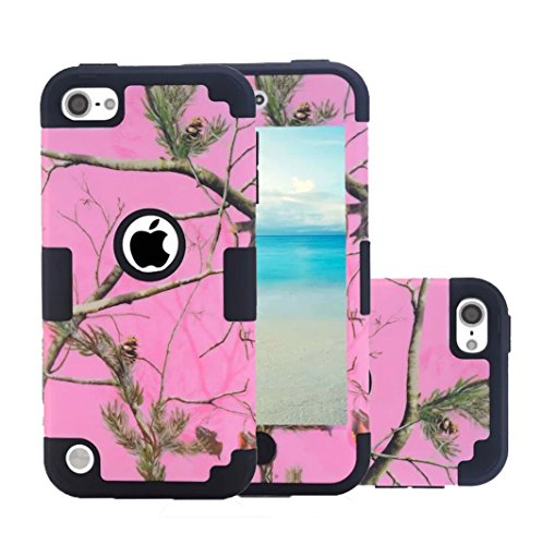iPod Touch 5 Camo Case, Harsel Deer Design Dual Layer Hybrid Protective Case and Impact Resistant Case Drop Protecion Silicone Hard Cover for iPod Touch 5th / iPod Touch 6th Generation (Pink Black)