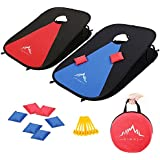 Himal Collapsible Portable Corn Hole Game Boards With 8 Cornhole Bean Bags (3 x 2-feet)