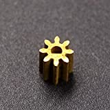 HATCHMATIC 8T Metal Gear D Shape Hole Brass M0.6 Pinion for Brushed Motor 370 with 2mm Diameter Shaft: 1 pc