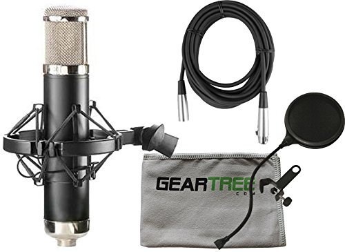 Pattern Large Diaphragm Tube Condenser - APEX 460B Large Diaphragm Multi-Pattern Tube Studio Condenser Microphone w/ Geartree Cloth, Pop Filter, and Cable
