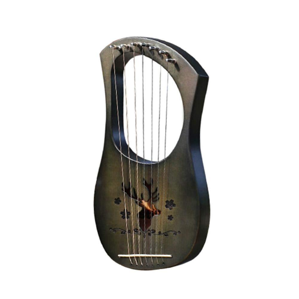 Cherry-Lee Lyra Harp Small Harp Greek Musical Instruments Seven-Stringed Piano, Made of Mahogany/Bamboo/Acacia Wooden