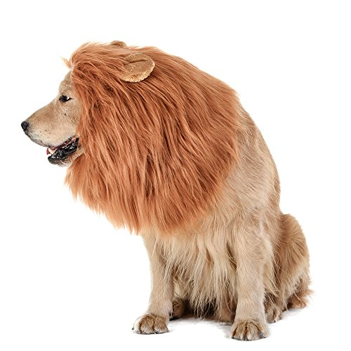 TOMSENN Dog Lion Mane - Realistic & Funny Lion Mane for Dogs - Complementary Lion Mane for Dog Costumes - Lion Wig for Medium to Large Sized Dogs Lion Mane Wig for Dogs]()