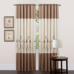 Triangle Home Fashions 18832 Lush Decor 84-Inch Butterfly Dreams Curtain, Beige/Taupe, Panels