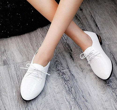 Frau Frühling spitze Schuhe Aufzug Schuhe im Vintage-Spitze Schuhe Singles Schuhe mit Schuhe, flache Schuhe Damen white