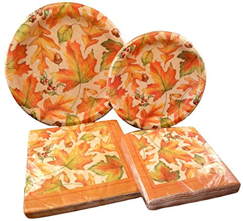 Autumn Harvest Paper Plates and Napkins Party Pack (Oak and Maple Leaves with Acorns and (Autumn Paper Plates)