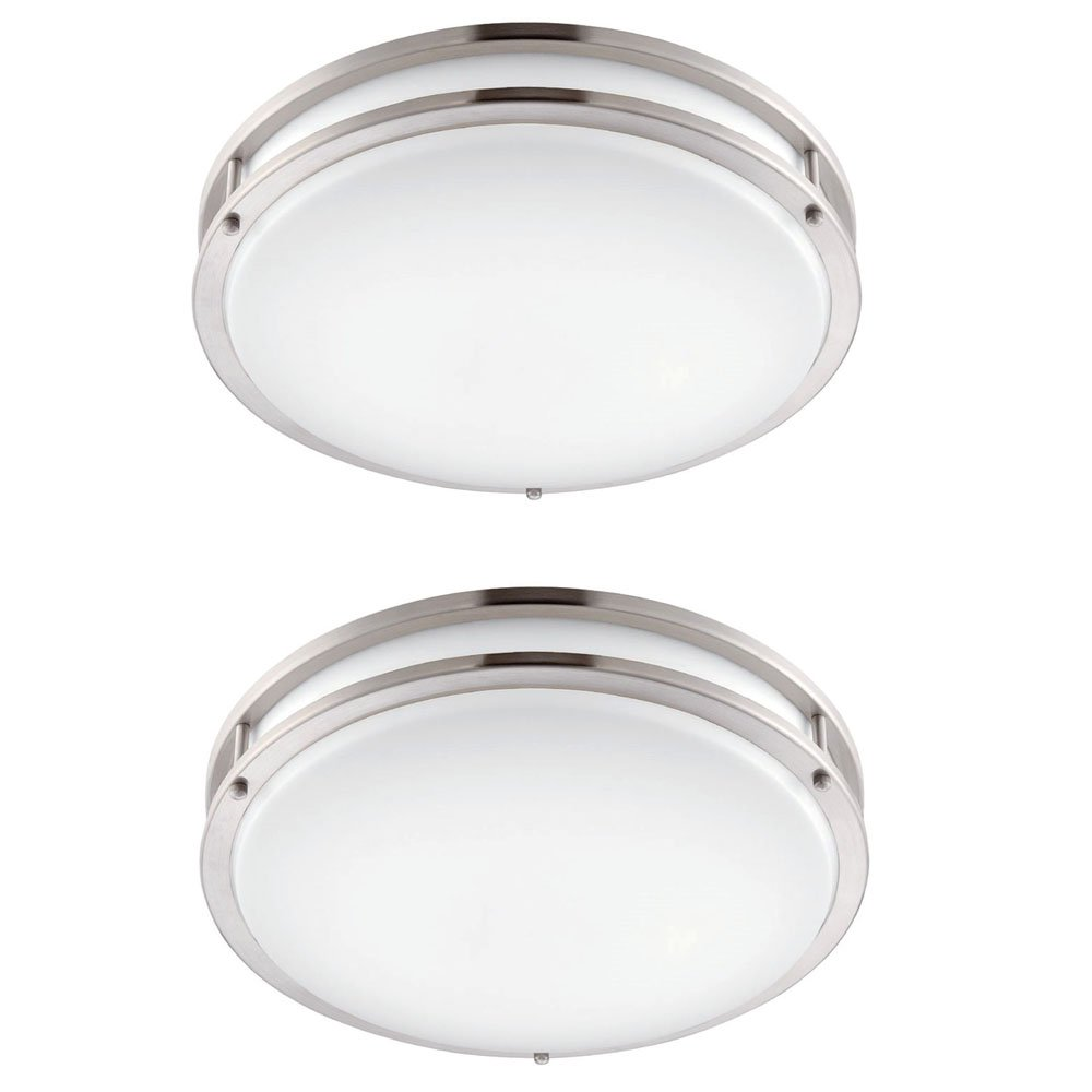 Designers Fountain EV1412LED-BND-2 12 In. Brushed Nickel/White Led Ceiling Low-Profile Flushmount (2 Pack)