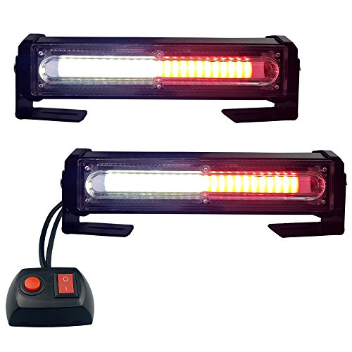 LED Emergency Lights, Red&White Grille Light Head, 16W Bright Linear LED Mini Strobe Lightbar Surface Mount for for POV, Utility Vehicle, Construction Vehicle and Tow Truck Van