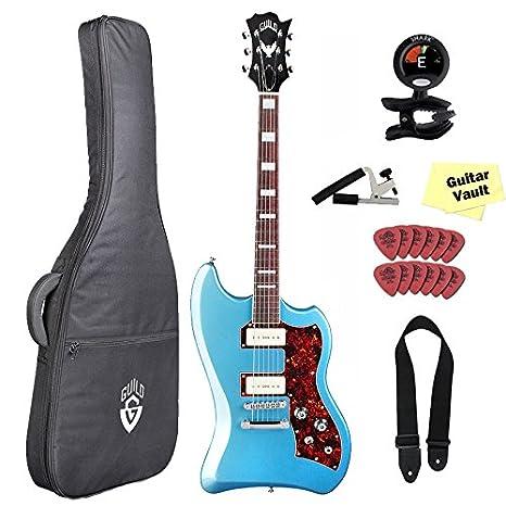 Guild guitarra T-Bird St Franz P90 Guitarra eléctrica con Gig Bag de la Hermandad, Pelham azul: Amazon.es: Instrumentos musicales