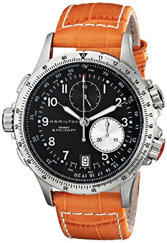 "Hamilton Men's H77612933 ""Khaki Field"" Stainless Steel Chronograph Watch with Orange Leather Band"