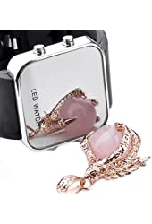Mirror Men Lady LED Digital Sport Unisex Watch Gift,- Black Colors