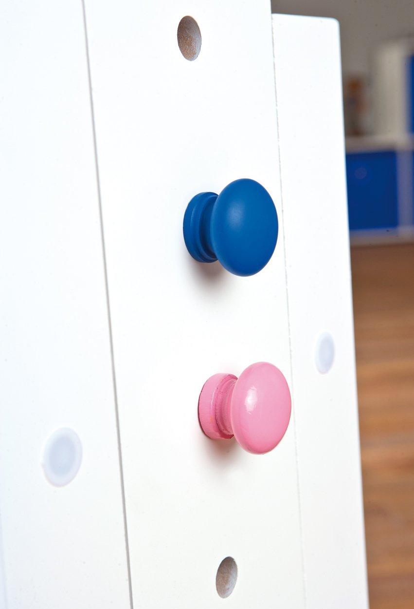 accesorios en color blanco Links 40100500 Baru Escritorio infantil tablero de madera y madera maciza, altura e inclinación regulables, 1 cajón, 109 x 55 x 63/88 cm rosa y azul
