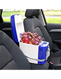 SL&BX 5l car refrigerator,Mini fridge refrigerator small home mini car dual heating and cooling box portable for bedroom, Office or dorm-Blue 27.7x18x30.6cm(11x7x12inch)