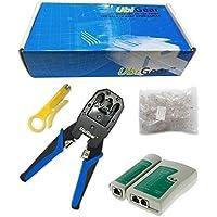 UbiGear Cable Tester +Crimp Crimper +100 RJ45 CAT5 CAT5e...