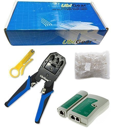 UbiGear Cable Tester +Crimp Crimper +100 RJ45 CAT5 CAT5e Connector Plug Network Tool Kits - Ethernet Cable Tool Crimping