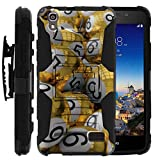 TurtleArmor | Huawei Pronto Case | Huawei SnapTo Case | H891L [Hyper Shock] Hybrid Kickstand Cover Belt Clip Hard Protector Silicone Layer Gambling Casino Set - Gold Bingo Balls