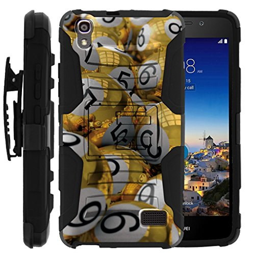 TurtleArmor | Huawei Pronto Case | Huawei SnapTo Case | H891L [Hyper Shock] Hybrid Kickstand Cover Belt Clip Hard Protector Silicone Layer Gambling Casino Set - Gold Bingo Balls by TurtleArmor