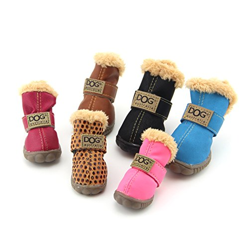 ZeroTone Warm Fleece Dog Boots Waterproof PU Anti-slip Rubber Snow Boots Pet Shoes for Small Dog Cat Coffee #5 (Dog Boots Weather)