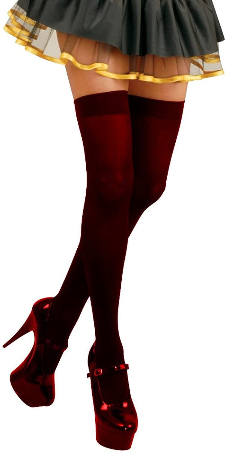 Adult Sexy Red Opaque Costume Stockings