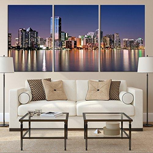 Amazon.com: Miami Skyline Wall Art, Miami Skyline Canvas Print ...