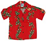 RJC Boys Island Bird of Paradise Panel Rayon Shirt Red 16