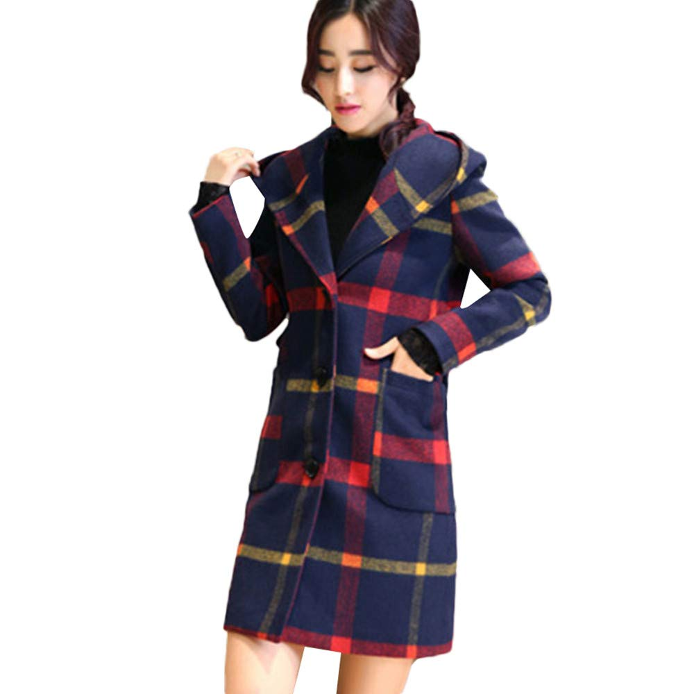 CUTUDE Coats for Women Autumn Winter Ladies Fashion Long Sleeve Hooded Plaid Button Jacket Woollen Overcoat