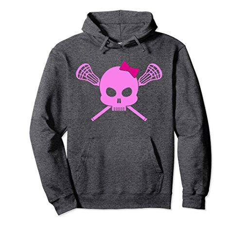 Unisex Girls Lacrosse Hoodie | Pink Skull Womens Lax design Medium Dark Heather (Skull Hoodie Pink)