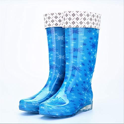 Women's Tall Rain Boots Soft Waterpoof Wellingtons Lightweight Garden Boots(Blue-Warm Lining-1-Lable 37/6.5 B(M) US Women)