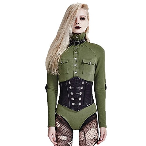 Punk Rave Punk Long Sleeves Rompers for Women Single Breasted High Collar Jumpsuuits Cotton Shirts Green 2XL